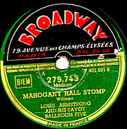 78 T. - 25 Cm - état TB -   LOUIS ARMSTRONG -   MAHOGANY HALL STOMP - I CAN'T GIVE YOU ANTTHING BUT LOVE - 78 Rpm - Gramophone Records