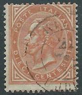 1863-65 REGNO USATO EFFIGIE 10 CENT TIRATURA TORINO - S17-17 - Usati