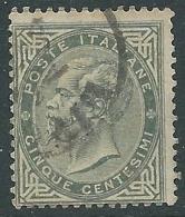 1863-65 REGNO USATO EFFIGIE 5 CENT TIRATURA TORINO - S16-15 - 1861-78 Vittorio Emanuele II