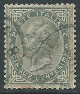 1863-65 REGNO USATO EFFIGIE 5 CENT TIRATURA TORINO - S16-16 - 1861-78 Vittorio Emanuele II