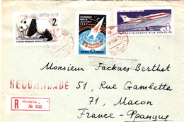 COVER LETTRE RECOMMANDE MOSKVA POUR MACON FRANCE PANDA ESPACE AVION - Russland & UdSSR