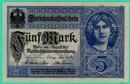 5 Mark - Allemagne - 1 Août 1917 - N° G 4640829  - Sup - - 5 Mark
