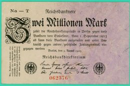2 Million De Mark  - Allemagne - 9 Août 1923 - N°062376  - Sup - - 2 Millionen Mark