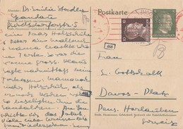 DR Ganzsache Zfr. Minr.787 Berlin 10.4.42 Gel. In Schweiz Zensur - Briefe U. Dokumente