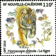 NEW CALEDONIA 2010 Chinese Lunar New Year Of The Tiger Zodiac Tigers Animals Fauna MNH - Nuova Caledonia
