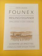 3288 - Suisse Vaud Founex Riesling X Sylvaner Doamine Des Racettes - Etiquettes