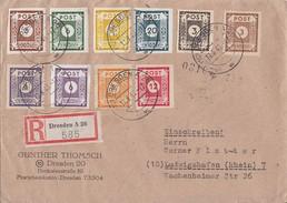 Ost-Sachsen R-Brief Mif Minr.42A,43A,47A,48A,51,56-60 Dresden 19.6.46 Gel. Nach Ludwigshafen - Sowjetische Zone (SBZ)