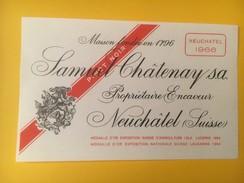 3299 - Suisse Neuchâtel Samuel Châtenay Neuchâtel 1966 - Etiquettes