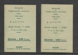 Centenaire TIMBRE POSTE FRANCAIS 1949 Grand Palais Ticets - Tickets - Vouchers