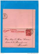 """MARCOPHILIE -CHILI-carte Entier Postal  -""""para El Interior"""" Cad SANTIAGO 21 Dec  1895 -pour Limache - Chile"""