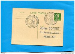 """Marcophilie-Françe-carte Entier Postal 12frs Marianne De Muller-cad """"tour De Françe"""" 22ème étape PARIS 28 Juil 1956 - Marcofilie (Brieven)"""