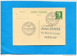 """Marcophilie-Françe-carte Entier Postal 12frs Marianne De Muller-cad """"salon Radio Télévision"""" 15-9 1956 - Marcofilie (Brieven)"""