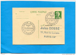 "Marcophilie-Françe-carte Entier Postal 12frs Marianne De Muller-cad ""salon Radio Télévision"" 15-9 1956 - Marcophilie (Lettres)"