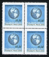 New Zealand Wine Post Superb Light Blue Printing Emergency Postage Overprint 2006 Block Of Four. - New Zealand