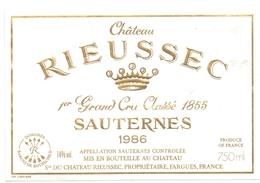 Etiket Etiquette Wijn Vin - Sauternes Château Rieussec 1986 - Domaines Barons De Rothschild - Etiquettes