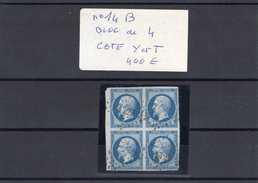 Variété Du N°14 B En Bloc De 4 - 1853-1860 Napoleon III