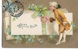 """""""Bonne  Fète  """"  Homme  Habillée  De   17/1800s     à  Cote De Grands  Envelopes    Et  Misotis    -  Carte  Gauffré - Sonstige"""