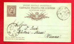 Italie. Roi Umberto I. Entier P10 (1882). 10 C Brun Sur Vert. Vicenza- Vienne Mai 1882 - Ganzsachen