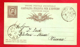 Italie. Roi Umberto I. Entier P10 (1882). 10 C Brun Sur Vert. Vicenza- Vienne Mai 1882 - 1878-00 Humbert I
