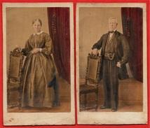 Rare PHOTO Photographie CDV Couleur Colorisée (Lot De 2) Couple - La Femme & L'Homme - Photos