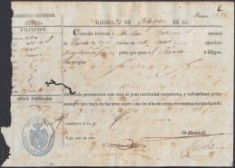 E5030 CUBA ESPAÑA SPAIN. 1846. PASAPORTE PASSPORT. LICENCIA DE TRANSITO NATURAL DE CASTILLA A JUCARO. - Documents Historiques