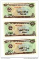 VIETNAM*LIASSE DE 3 BILLETS*100 DONG*1991*FDC* UNC*SERIE  CONSECUTIVES*LOT N° 008* - Vietnam