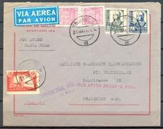 1937 , BALEARES , GUERRA CIVIL , PALMA DE MALLORCA - FRANKFURT , CENSURA MILITAR , MARCA DE ENCAMINAMIENTO ,CORREO AÉREO - 1931-Hoy: 2ª República - ... Juan Carlos I