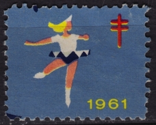 Figure Skating - Canada 1961 TBC Tuberculosis Charity Stamp / Cinderella / Label / Vignette