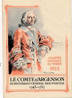 G22 - Journée Nationale Du Timbre 1953 - Le Comte D'Argenson - Timbres (représentations)