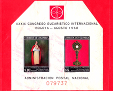 Nuovo - MNH - COLOMBIA - 1968 - 39 Congresso Eucaristico Internazionale - Papa E Ostensorio - 10 + 5 - Foglietto - Colombia