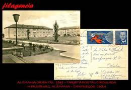 EUROPA. ALEMANIA ORIENTAL. ENTEROS POSTALES. TARJETA POSTAL CIRCULADA 1969. MERSEBURG. ALEMANIA-CIENFUEGOS. CUBA - [6] República Democrática