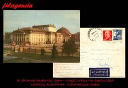 EUROPA. ALEMANIA ORIENTAL. ENTEROS POSTALES. TARJETA POSTAL CIRCULADA 1964. LEIPZIG. ALEMANIA ORIENTAL-CIENFUEGOS. CUBA - [6] República Democrática