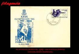 EUROPA. ALEMANIA ORIENTAL. ENTEROS POSTALES. MATASELLO ESPECIAL 1989. XXVII DÍA OLÍMPICO - [6] República Democrática