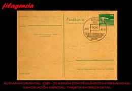 EUROPA. ALEMANIA ORIENTAL. ENTEROS POSTALES. MATASELLO ESPECIAL 1985. 90 SESION DEL COMITÉ OLÍMPICO INTERNACIONAL - [6] República Democrática