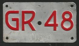 Velonummer Graubünden GR 48 - Plaques D'immatriculation