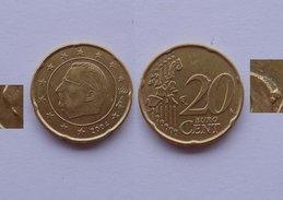 N. 48 ERRORE EURO !!! 20 CT. 2004 BELGIO ESCRESCENZA DI METALLO !!! - Errores Y Curiosidades