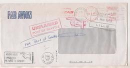LETTRE LILLE FRANCE SEATTLE ETATS UNIS 1988 - DIFFERENTS CACHETS DE RETOUR ( MAINS) VOIR LE SCANNER - Variétés Et Curiosités