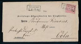 Norddeutsche Post- Beleg- Siegburg   (g7163  ) Siehe Bild - Conf. De L' All. Du Nord