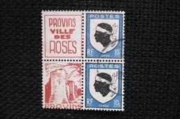 Bloc De 4 Oblitéré Blason Corse Avec Publicité Privée Provins Ville Des Roses - Publicités
