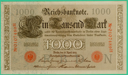 1000 Mark  - Allemagne - Reichsbanknote - N° 0107489H - 21 Avril 1910 - Spl - - [ 2] 1871-1918 : German Empire
