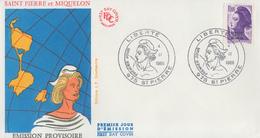 Enveloppe  1er Jour    SAINT  PIERRE  Et  MIQUELON       Liberté  De  GANDON    1986 - FDC