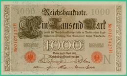 1000 Mark  - Allemagne - Reichsbanknote - N° 0107427H - 21 Avril 1910 - Spl - - 1000 Mark