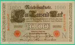 1000 Mark  - Allemagne - Reichsbanknote - N° 0107425H - 21 Avril 1910 - Spl - - [ 2] 1871-1918 : German Empire