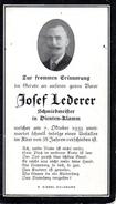 Andachtsbild - Sterbebild V JOSEF LEDERER Schmiedemeister In Dienten - Klamm Gest. 7. Okt. 1939 Im 58 Lj