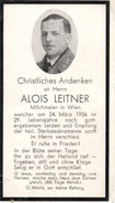 Andachtsbild - Sterbebild V ALOIS LEITNER Milchmeier In Wien Gest. 24. März 1936 Im 29. Lj - Religion &  Esoterik
