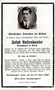 Andachtsbild - Sterbebild V JAKOB KALTENHAUSER Stanglbauer In Straß Im Zillertal Gest. 26. Juni 1945 Im 27. Lj