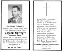 Andachtsbild - Sterbebild V JOHANN SPRENGER Zimmermeister In Straß Im Zillertal Gest. 10. Juni 1960 Im 54. Lj