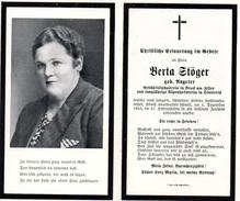 Andachtsbild - Sterbebild V BERTA STÖGER Geschäftsinhaberin In Bruck Im Zillertal Gest. 1. Dez. 1953 Im 57. Lj