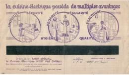 FACTURE  électricité Avec Pub Illustrée -  Energie électrique Du Sud Ouest  - 1937 - La Cuisine Electrisque  ... - Francia