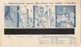 FACTURE  électricité Avec Pub Illustrée -  Energie électrique Du Sud Ouest  - 1937 - Confort Et Bien être  ... - Francia